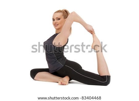 bright picture of lovely fitness instructor over white