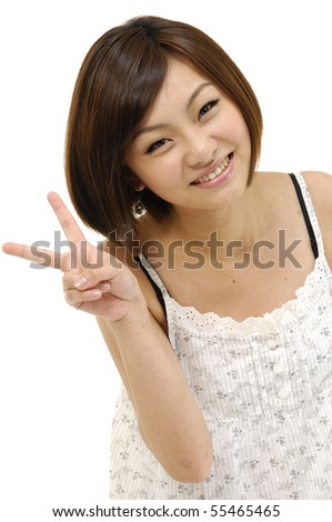 bright picture of lovely girl showing victory sign - stock photo