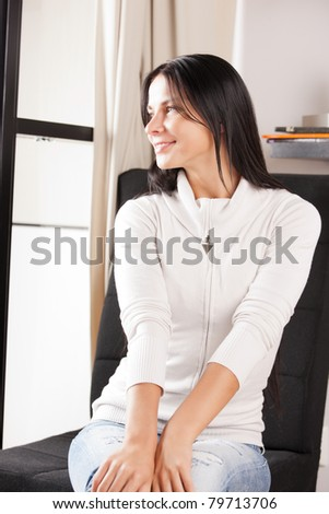 bright picture of lovely housewife at home