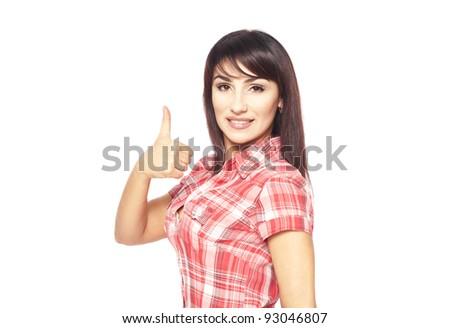 bright picture of lovely smiling  teenage girl business woman with thumbs up ok sign isolated over white background