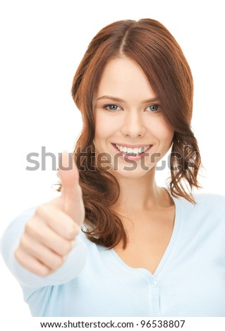 bright picture of lovely teenage girl with thumbs up.