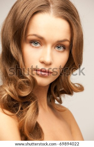 bright picture of lovely woman over grey