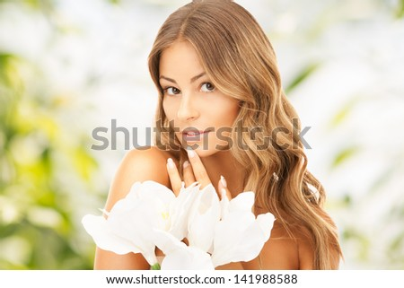 bright picture of lovely woman with lily flower