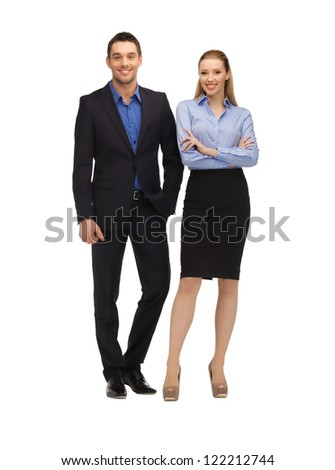 bright picture of man and woman in formal clothes. - stock photo