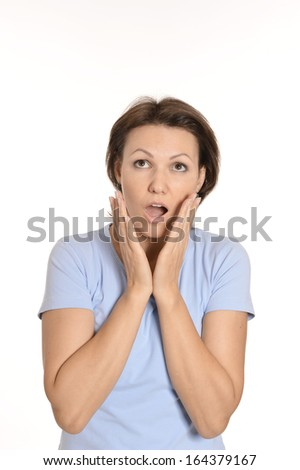 Bright picture of pretty surprised woman