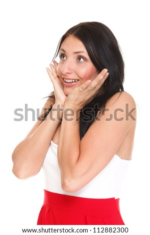 bright picture of pretty woman astonished with hands over mouth isolated white