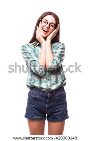bright picture of pretty woman shocked with hand over mouth - stock photo