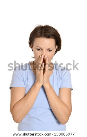 bright picture of pretty woman with hands over mouth