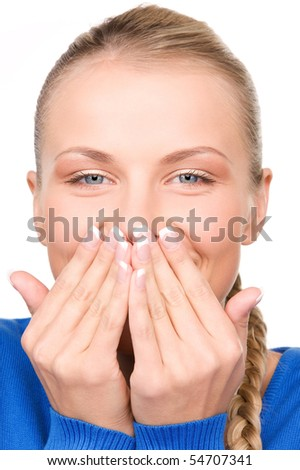 bright picture of teenage girl with hand over mouth