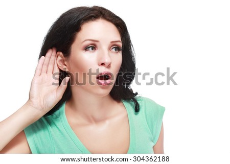 bright picture of unhappy woman listening gossip - stock photo