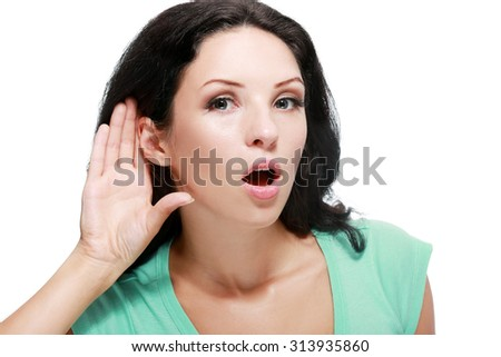bright picture of unhappy woman listening gossip