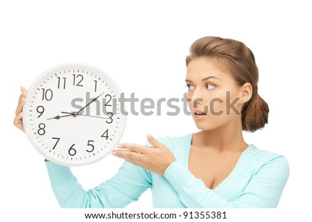 bright picture of woman holding big clock - stock photo