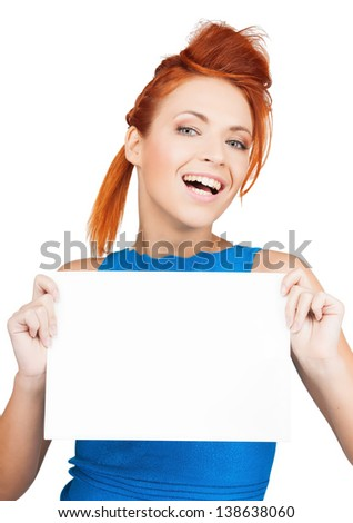 bright picture of woman showing white blank board - stock photo