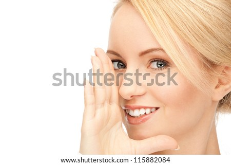 bright picture of woman whispering gossip - stock photo