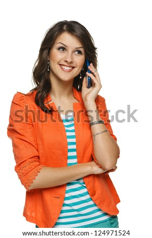 Bright picture of young woman talking on cellphone, looking up, over white background