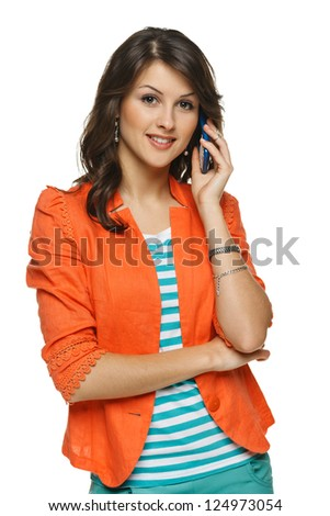 Bright picture of young woman talking on cellphone, over white background