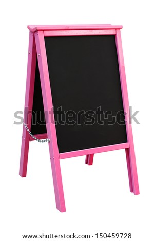 Bright Pink Blackboard mounted in an A Frame signboard also known as a sandwich board with chalkboard area blank for insertion of your own custom message - stock photo