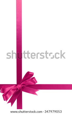 Bright pink gift ribbon bow vertical lower corner border