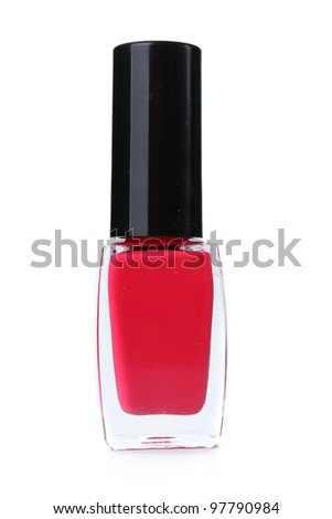 bright pink nail polish isolated on white