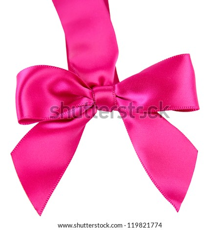 Bright Pink Satin Bow for gifts or presents - stock photo