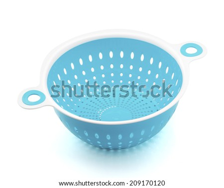 Bright Plastic colander isolated on white Background - stock photo