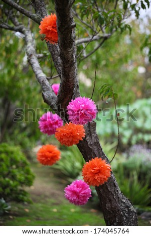 Bright pom poms decorating a tree. - stock photo