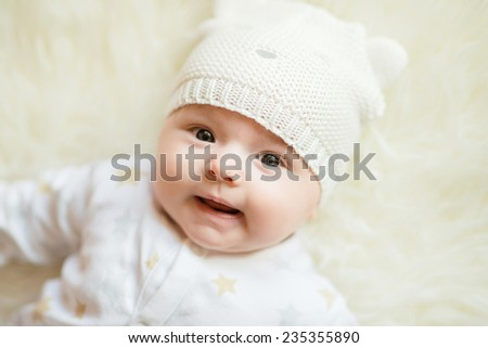 bright portrait of adorable baby boy - stock photo