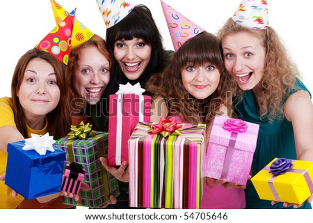 bright portrait of happy girls with gift boxes over white background