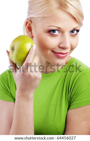 Bright portrait of very cute woman holding green apple - stock photo