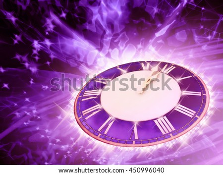 Bright purple background with round watch.  3D illustration - stock photo