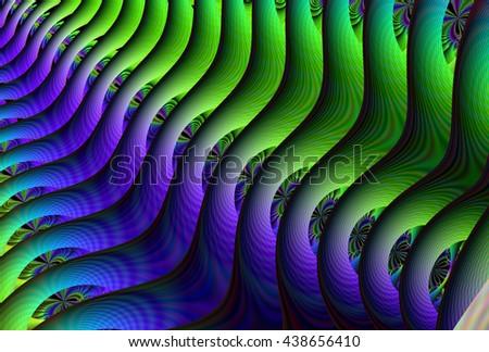 Bright purple / green abstract ripple / fern design - stock photo