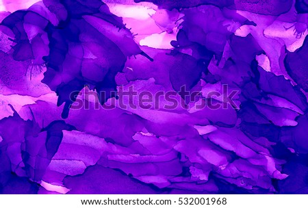Bright Purple Paint Uneven Color.Colorful Background Hand Drawn With Bright  Inks And Watercolor Paints
