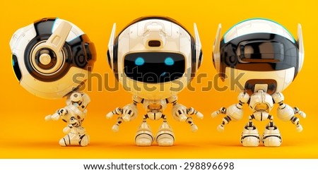 Bright radio controlled toy / Lovely bright robotic toy on juicy orange background - stock photo