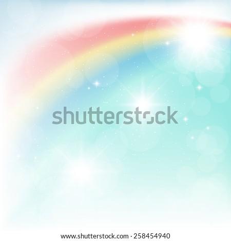 bright rainbow in the blue sky - stock photo
