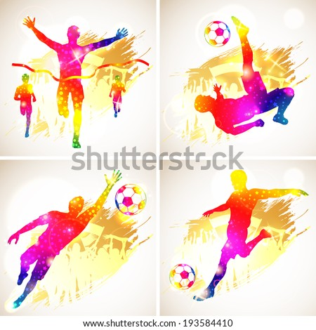 Bright Rainbow Silhouette Soccer Player and Winner Man with Fans on grunge background, illustration - stock photo