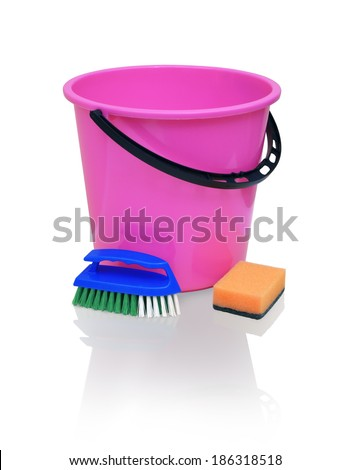 Bright raspberry plastic bucket with black handle, blue brush with green bristles and orange sponge for cleaning isolated on white background with clipping path - stock photo