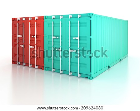 Bright red and blue clean metal freight and closed shipping containers on white background - photorealistic 3d render - stock photo