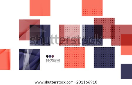 Bright red and blue textured geometric shapes isolated on white - modern design template