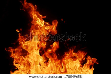 Bright Red and Orange Fire Texture on Black Background (Real Fire)