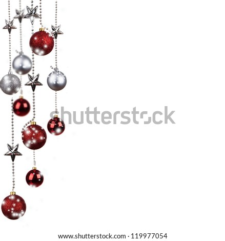 Bright red and silver Christmas tree balls with curly ribbons isolated on the white background - stock photo