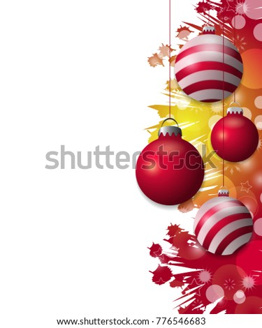 Bright red and yellow Christmas background with hung red baubles. Decorative balls elements for holiday design. illustration.