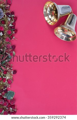 Bright Red backdrop and christmas decoration golden bell - stock photo