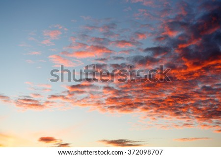Bright red clouds on the sunset sky