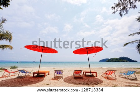 Bright red color umbrella on beach