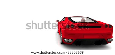 Bright Red convertible Sportscar / sports car, isolated on white rear View