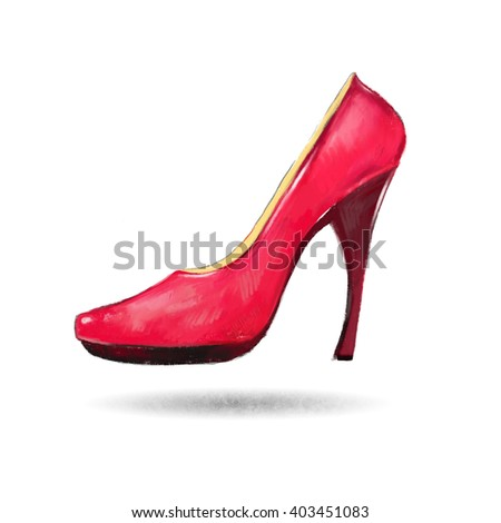 Bright red female shoes on a white background.