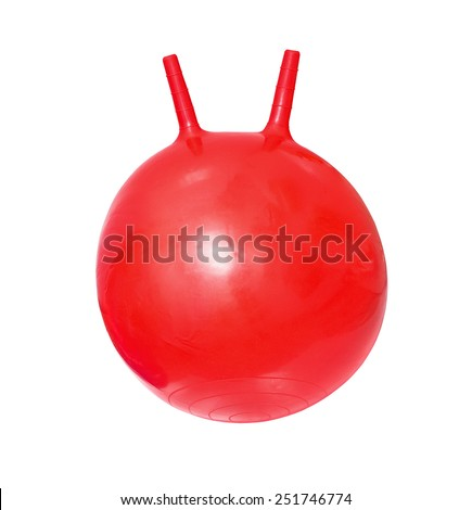 Bright red fitball, ball-kangaroo on white background - stock photo