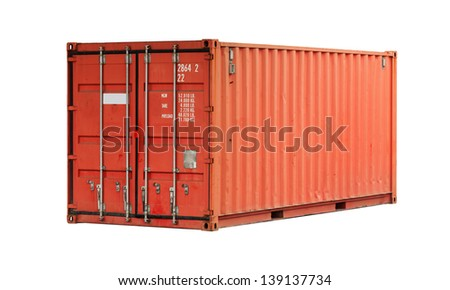 Bright red freight shipping container isolated on white - stock photo