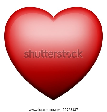 Bright red glowing heart
