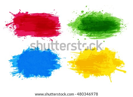 Bright red, green, blue and yellow abstract grunge splash on white background